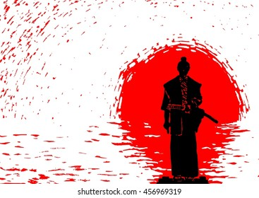 Vector illustration: samurai on the background of the rising sun