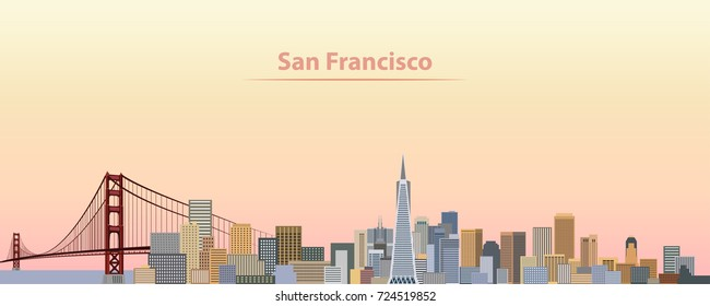 vector illustration of San Francisco city skyline at sunrise