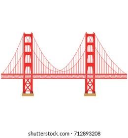 Vector illustration San Francisco Golden Gate bridge symbol isolated on white background. US landmark. United States of America. Side view. Flat style illustration