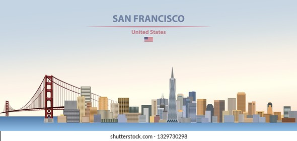 Vector illustration of San Francsico city skyline on colorful gradient beautiful day sky background with flag of United States