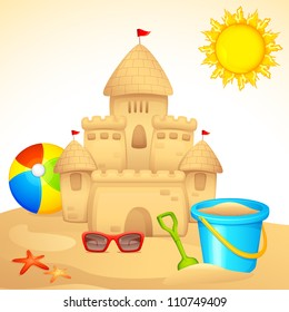 vector illustration of sand castle with sandpit kit on sea beach