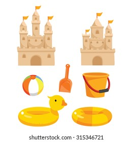 vector illustration of sand castle with sandpit kit on sea beach