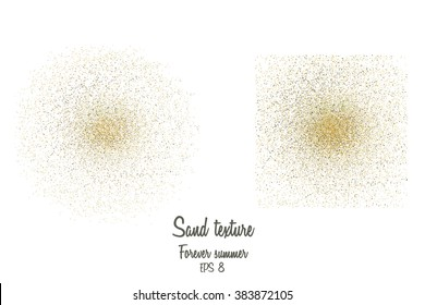 Vector illustration of sand particles. Sand grains make up the circle and square. Vector sands may be used for your design. Gold sand texture