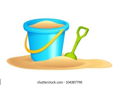 vector illustration of sandpit kit in sand