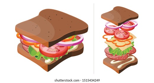 Vector illustration sandwich, isometric style. Tasty snack with ingredients. Isolated on white background. Good for sticker, poster, flye etc.