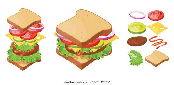 Vector illustration sandwich, isometric style. Tasty snack with ingredients. Isolated on white background.