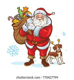 Vector illustration of Santa Claus with a bag full of gifts along and dog