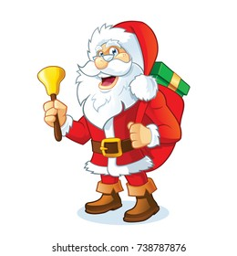 Vector Illustration of Santa Claus carrying a bag full of gifts and bell