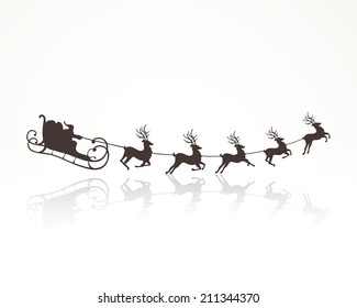 Vector Illustration of Santa Claus Driving in a Sledge