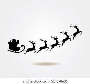 vector illustration of Santa Claus flying with deer Christmas background