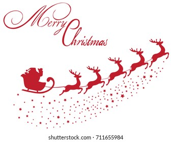 vector illustration of Santa Claus flying with reindeer Christmas background.