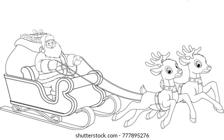 Vector illustration, Santa Claus flying across the sky on a sleigh with deer. Giving gifts on a Christmas holiday