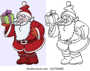 Vector illustration, Santa Claus with gifts, cartoon concept.