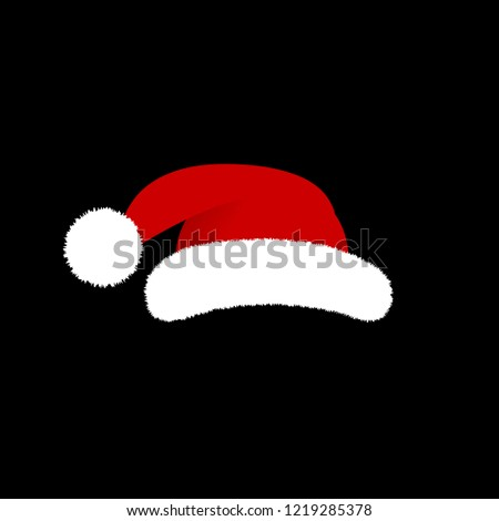 5e7a3641405c7 Vector Illustration. Santa Claus hat isolated on black background. Cartoon  style