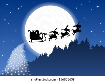 vector illustration of Santa Claus and his reindeer sleigh backlit by the full moon