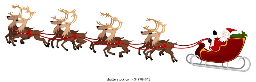 Vector illustration of Santa Claus and his eight reindeer in flight.
