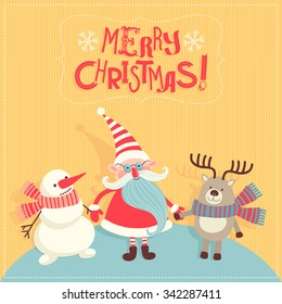 """Vector illustration with Santa Claus. """"Merry Christmas."""""""