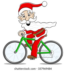 vector illustration of santa claus on bicycle