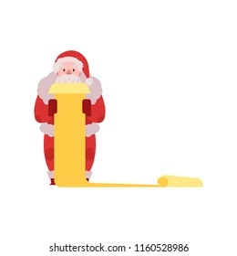 Vector illustration of Santa Claus in red costume and hat standing with scroll list of wishes in hands isolated on white background - Christmas and New Year congratulation symbol in flat style.