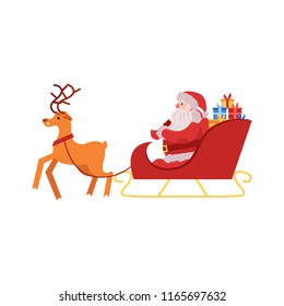 Vector illustration of Santa Claus in red costume and hat with gift boxes sitting in sleigh drawn by reindeer isolated on white background - Christmas and New Year symbol in flat style.