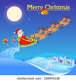 vector illustration of Santa Claus riding sleigh pulled by reindeer