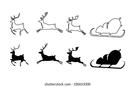 vector illustration of Santa Claus silhouette with sleigh and three rein deers