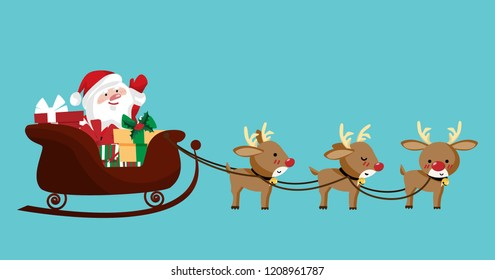Vector illustration of Santa claus in a sleigh with cute reindeer. Isolated object.  design for Christmas and New Year greeting.
