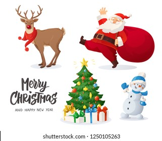 Vector illustration of Santa Claus, snowman, reindeer and decorated Christmas tree with presents. Winter holidays cartoon characters isolated on white.  Funny and cute retro design. For new year cards