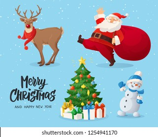 Vector illustration of Santa Claus, snowman, reindeer and decorated Christmas tree with presents. Winter holidays cartoon characters. Funny and cute retro design. For new year cards, banners.