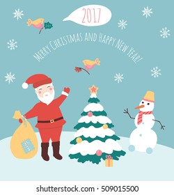 Vector illustration of Santa Claus and snowman. Happy New year and Merry Christmas card. Xmas banner.Cartoon flat christmas character. Christmas tree and Santa Claus poster. Winter holiday concept.