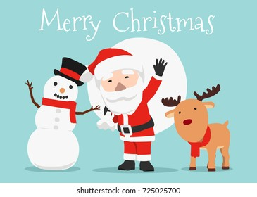 vector illustration of Santa Claus, Snowman and Reindeer, Christmas Card