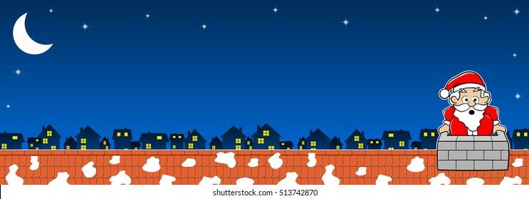 vector illustration of Santa Claus stuck in the chimney