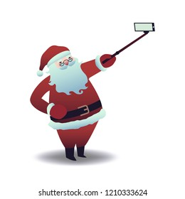 Vector illustration of Santa Claus taking selfie with smartphone and stick in flat cartoon style - isolated Christmas and New Year symbol doing photo of himself using mobile phone camera.