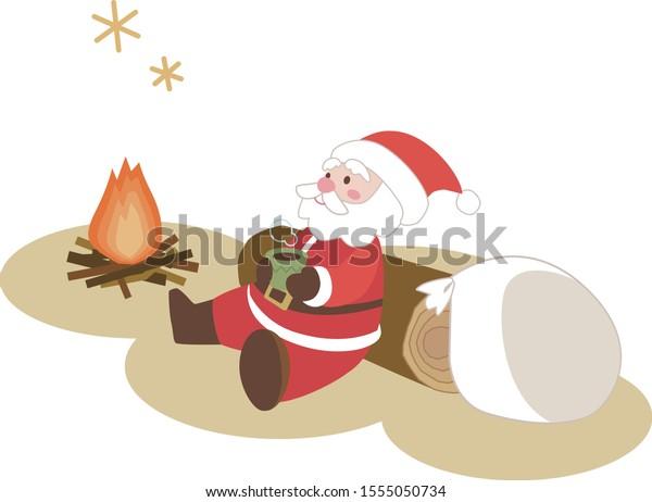 Vector illustration | Santa Claus taking a break