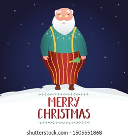 Vector illustration of Santa Clause in sling pants, holding small decorated Xmas tree in his hand. Hand drawn typography Merry Christmas with mistletoe pattern. Night sky background, snowflakes.