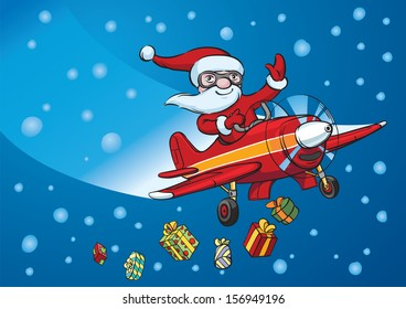 Vector illustration of Santa flying on plane. Easy-edit layered vector EPS10 file scalable to any size without quality loss. High resolution raster JPG file is included.
