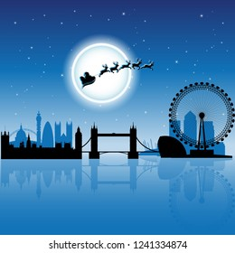 Vector Illustration of Santa in London over Blue Night Sky
