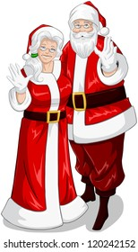 A vector illustration of Santa and Mrs Claus standing hugged and waving their hands for Christmas.