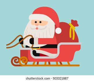 Vector illustration - Santa on Sleigh