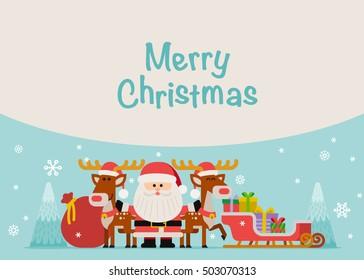 Vector illustration - Santa With Reindeer