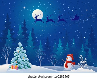 Vector illustration of Santa sleigh driving over woods, and greeting snow man