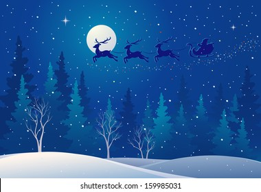 Vector illustration of Santa sleigh flying over snowy north woods