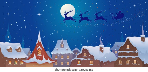 Vector illustration of Santa sleigh flying over old town rooftops in snowy xmas night