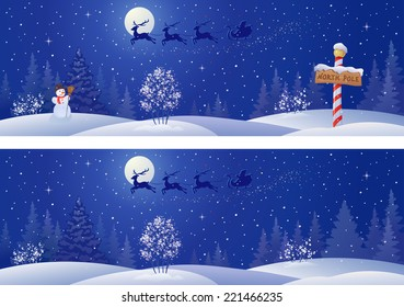 Vector illustration of a Santa sleigh flying above snowy night woods