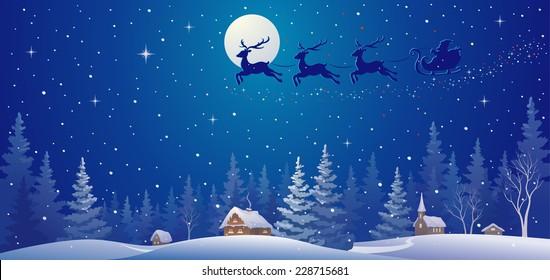 Vector illustration of Santa sleigh flying over night village