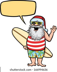 Vector illustration of Santa standing with surfboard. Easy-edit layered vector EPS10 file scalable to any size without quality loss. High resolution raster JPG file is included.