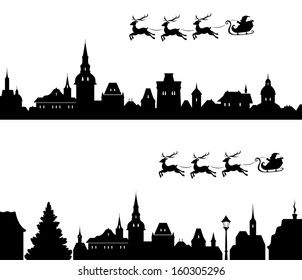 Vector illustration of Santa's sleigh flying over old town. All houses are separate objects, can be easily edited.