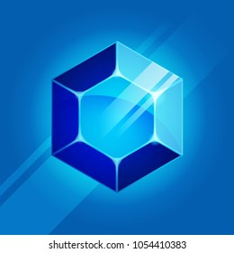 Vector illustration of sapphire gem on blue background