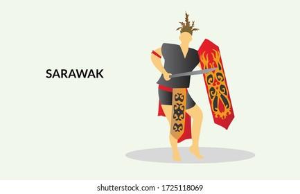 Vector illustration of a Sarawak Man in his Traditional  costume. Iban kadazan ethnic