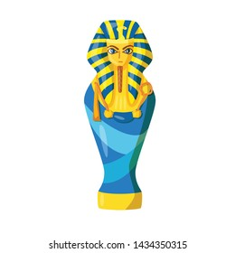 Vector illustration of sarcophagus and pharaoh symbol. Collection of sarcophagus and tomb vector icon for stock.
